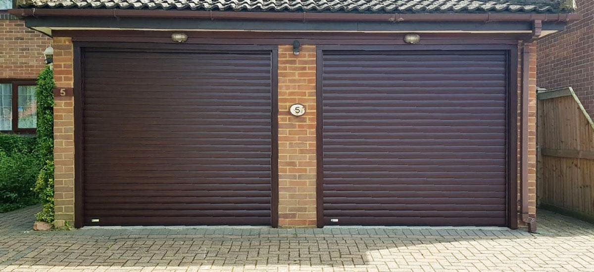 2x SWS SeceuroGlide Garage Doors in Rosewood