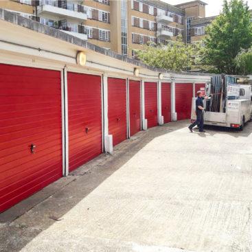 Fort Doors canopy garage doors in ruby red