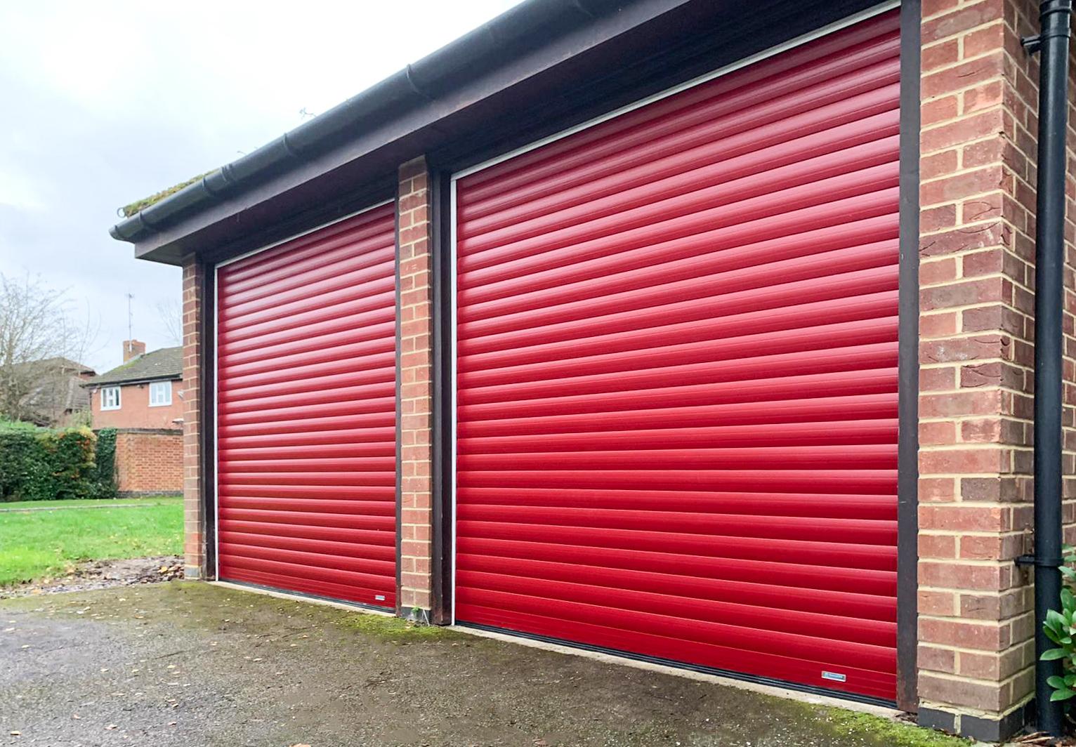 SeceuroGlide LT Roller Garage Door Finished in Red