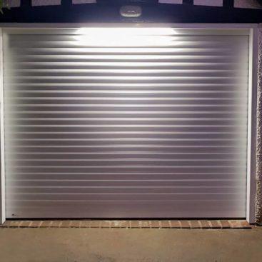 An SWS SeceuroglideRoller Garage Door finished in White