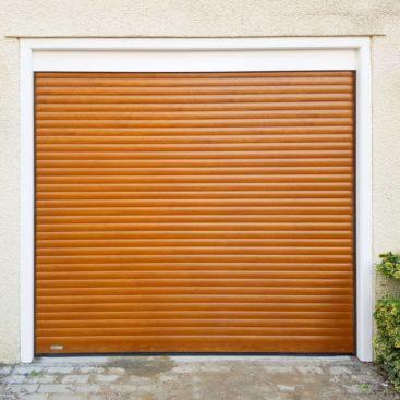 A SeceuroGlide Compact Roller Door in Golden Oak