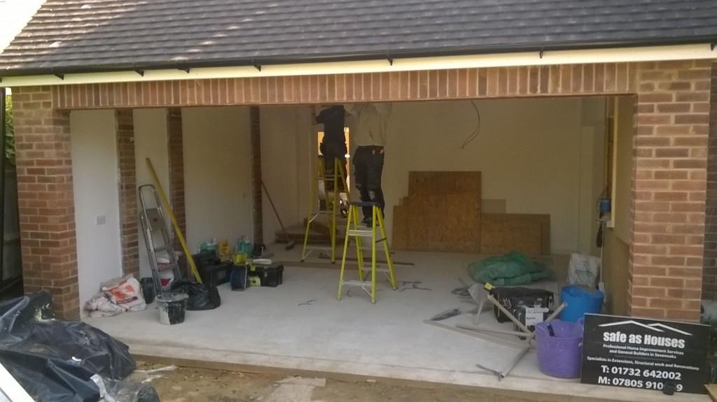 Before Hormann LPU40 S panel Sectional door and S2 Crystal Glazing Garage Door Installation