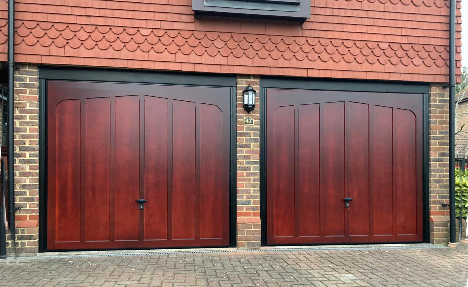 2x Cardale Tudor Cedarwood Canopy Up & Over Garage Doors Finished in Mahogany