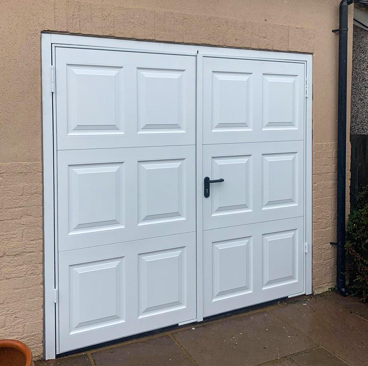 Garador Georgian Side Hinged Steel Garage Door Finished in White