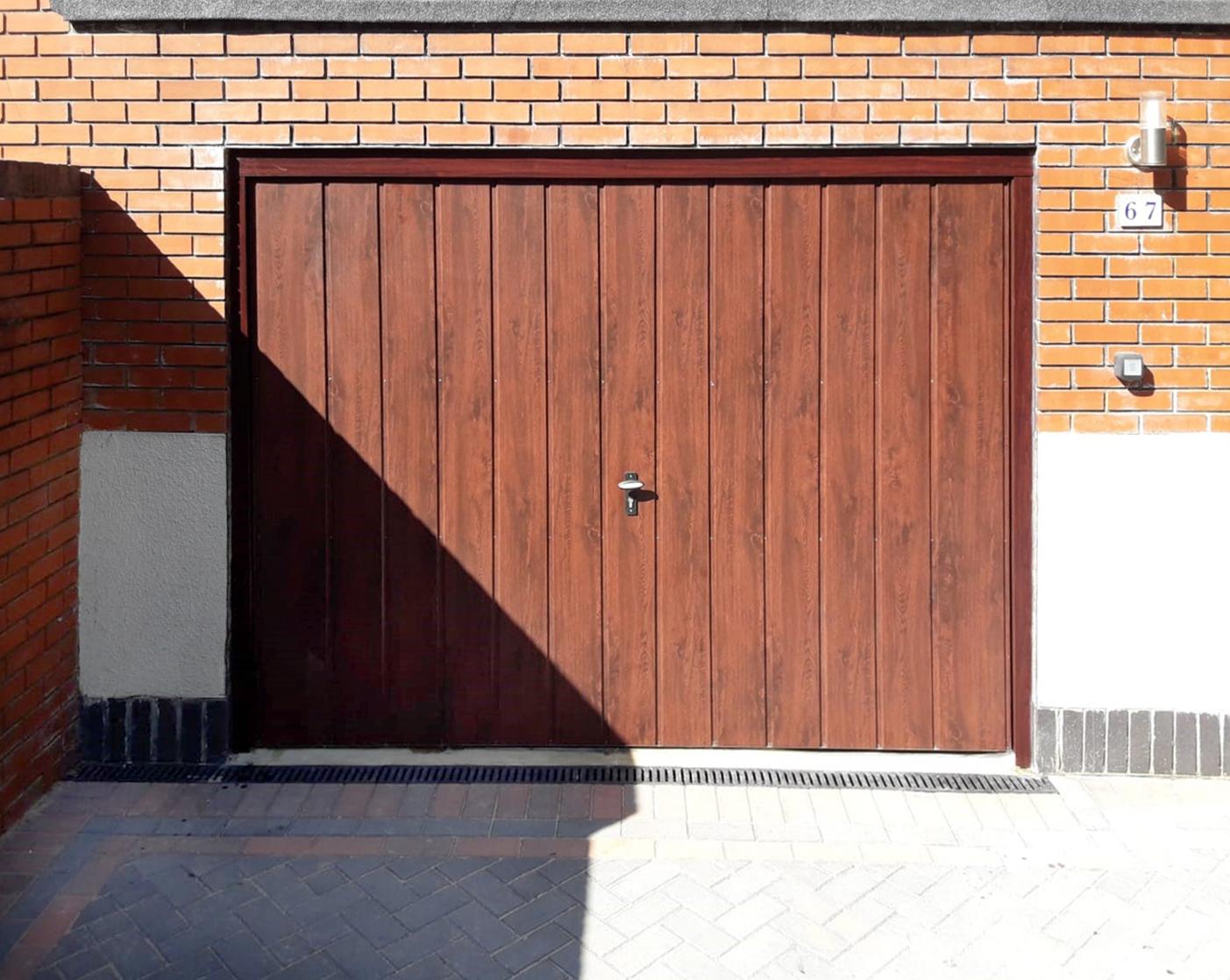 Fort Doors, Vertically Ribbed Up & Over Garage Door, finished in Rosewood Decograin