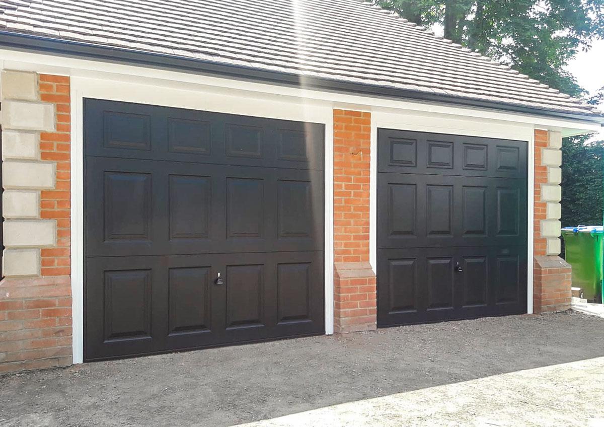 2x Garador Beaumont Retractable Up & Over Garage Doors Finished in Black