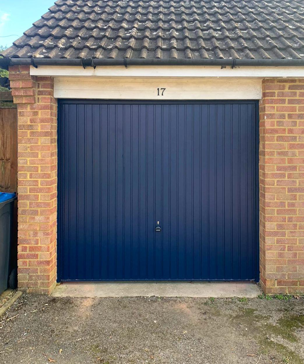 Garador Carlton Vertically Ribbed Canopy Up & Over Garage Door Finished in Steel Blue