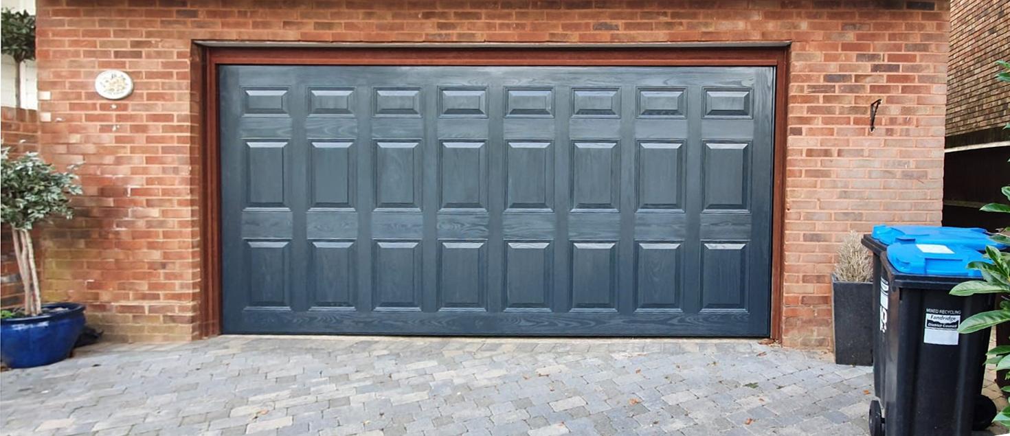 Garador Kenmore GRP Double Garage Door Finished In Anthracite Grey