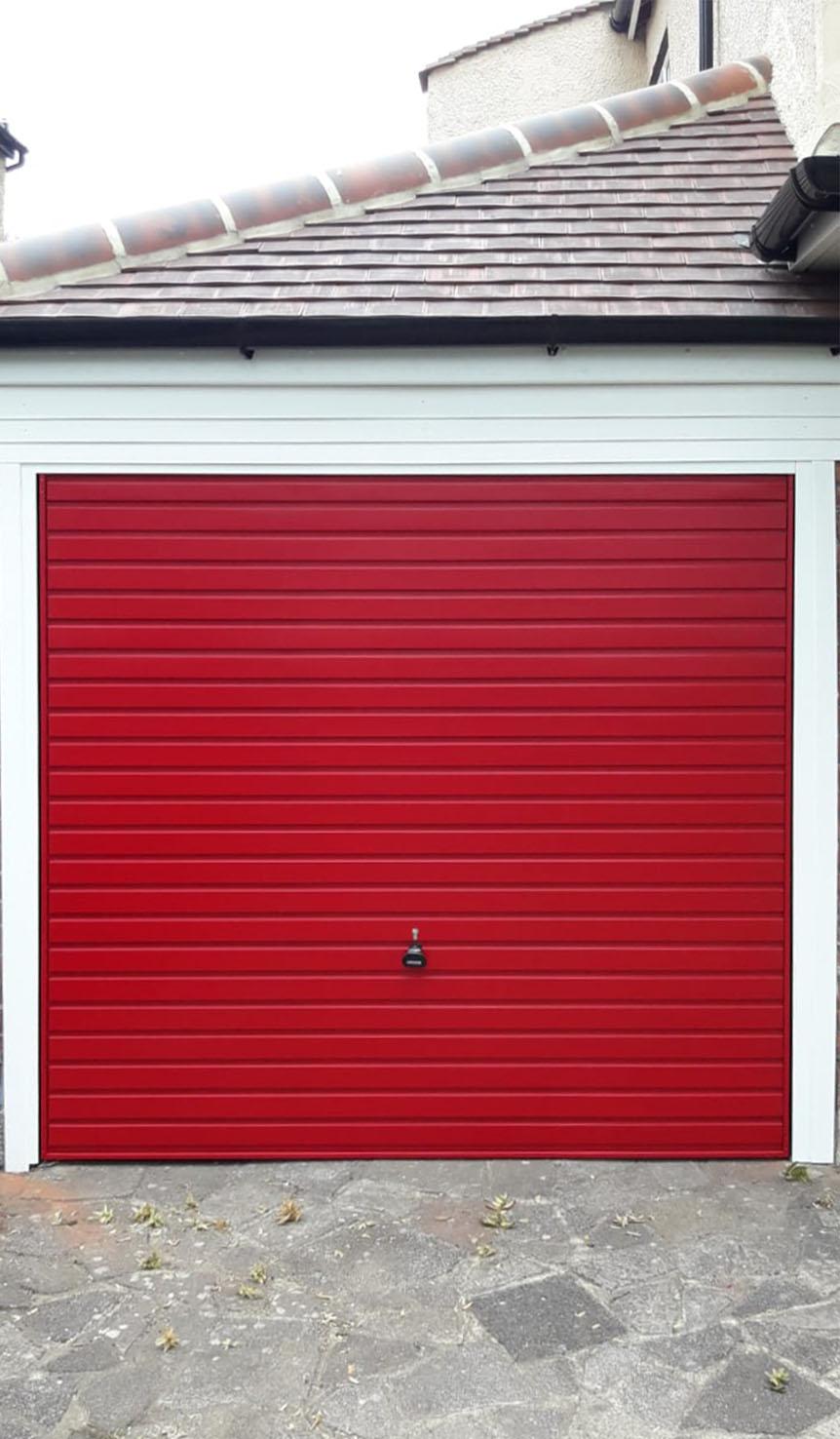 Garador Horizon Steel Up & Over Garage Door Finished in Ruby Red