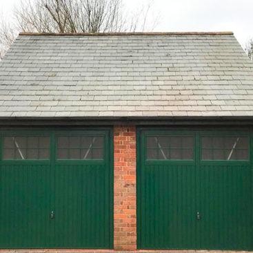 2x Garador Salisbury Steel Up & Over Garage Doors Finished in Moss Green