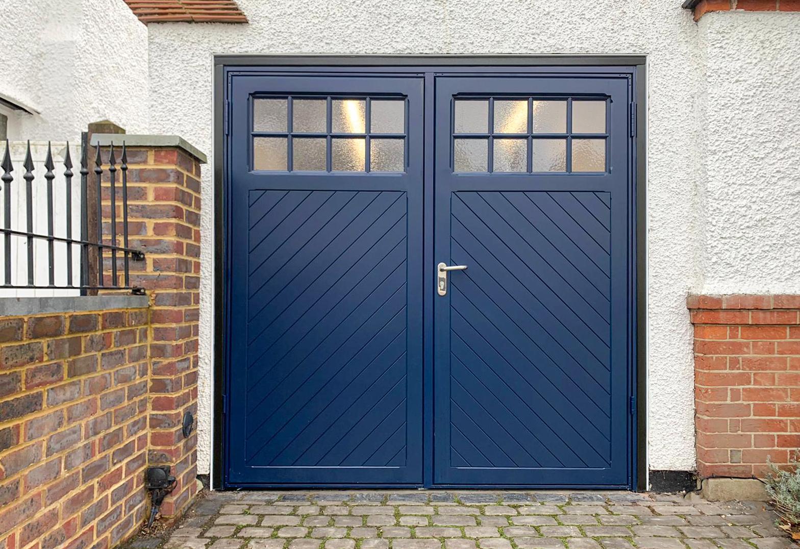 Garador Ashton, 50:50 Side Hinged Garage Doors Finished in Steel Blue