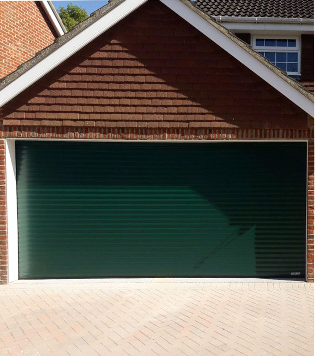 Hormann RollMatic Roller Garage Door Finished In Moss Green