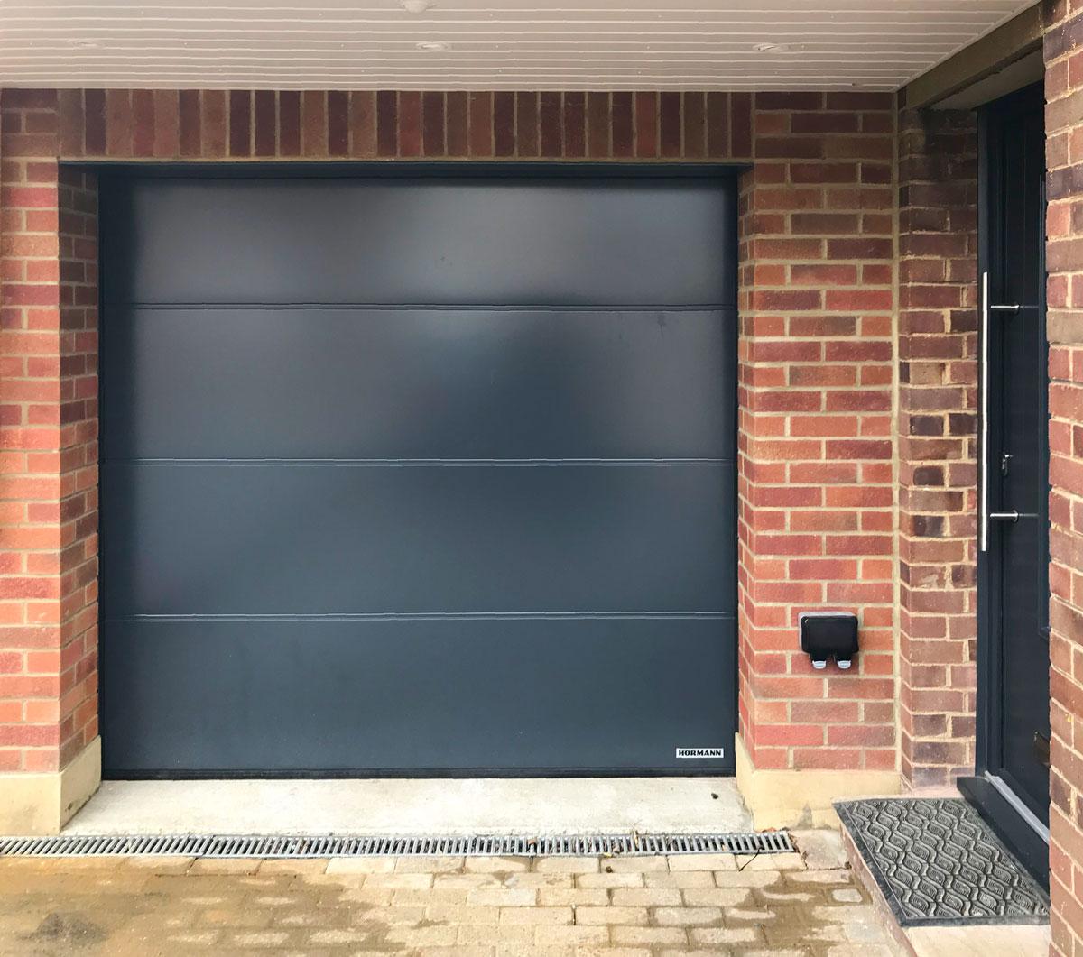 Hormann LPU 42 L-Ribbed Sectional Garage Door in Anthracite Silkgrain
