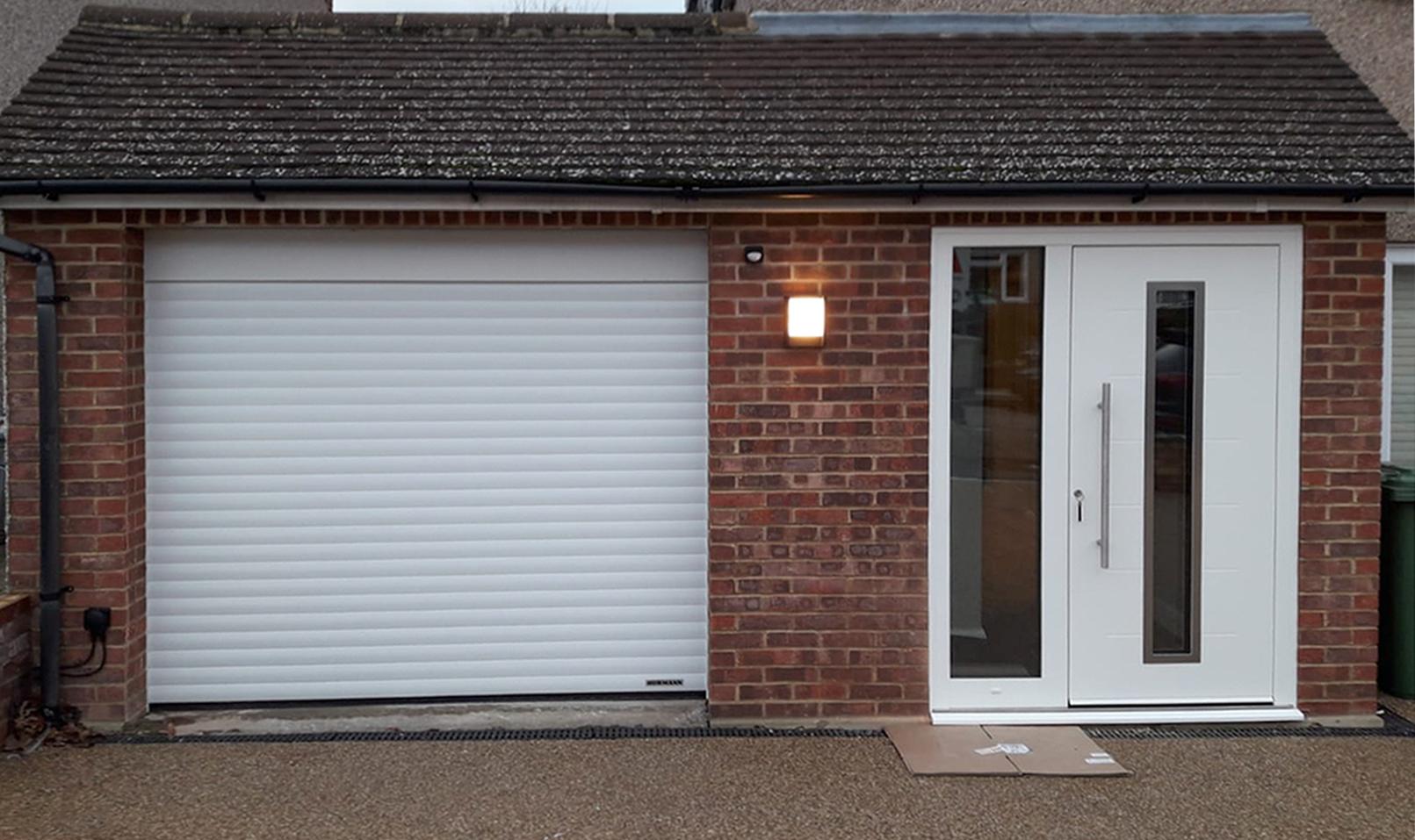 Hormann RollMatic Roller Garage Door & Ryterna RD80 Entrance Door Finished in White