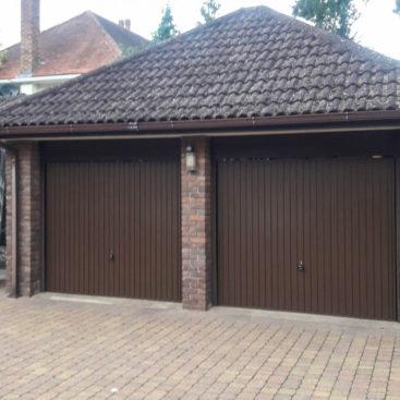 Hormann Steel Up & Over Vertical Garage Door Finished in Terra Brown