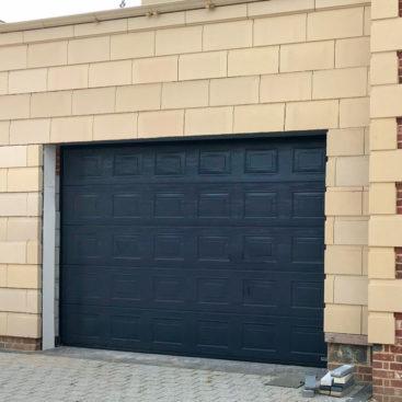 A Hormann LPU42 Sectional Garage Door in Blue
