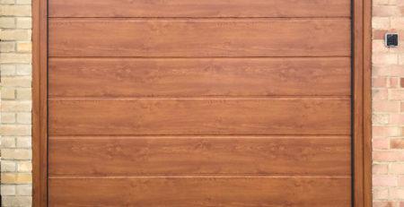 Hormann LPU42 Garage Door in a Golden Oak Decograin