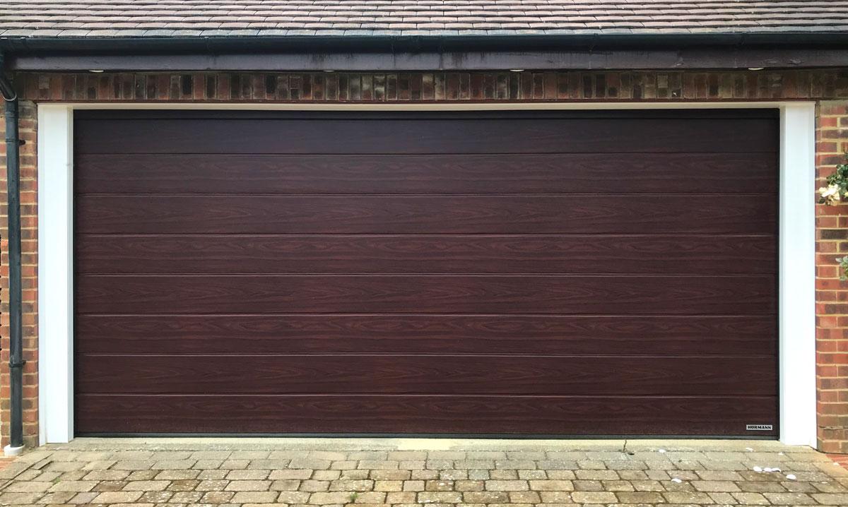 Access Garage Doors Hormann Lpu42 M Ribbed In Rosewood