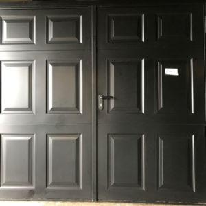 Garador Beaumont Georgian steel side hinged garage door in black