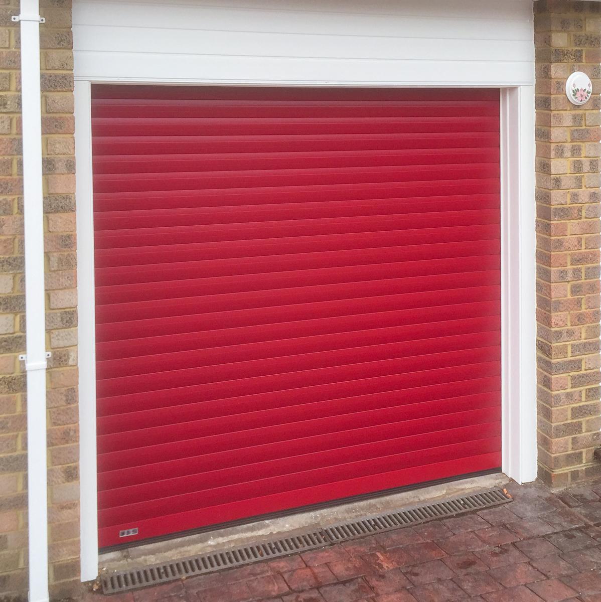 Seceuroglide Roller Garage Door in Ruby Red