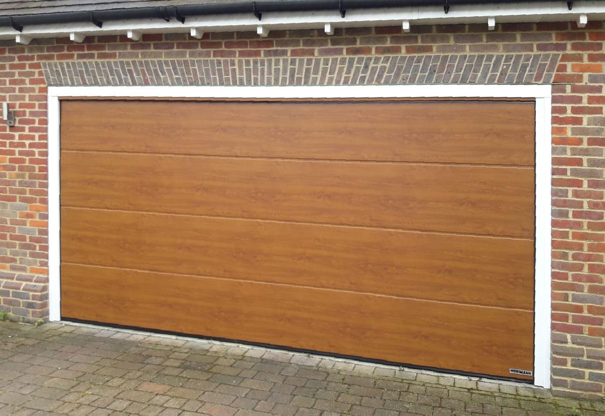 Hormann LPU42 Garage Door in Golden Oak