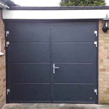 Ryterna Wide Horizontal Ribbed 50:50 Split Side Hinged Garage Doors Finished in Anthracite Grey