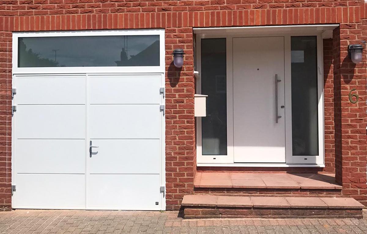 Ryterna Traditional SH2 Side Hinged Garage Doors & Ryterna Entrance Door Finished in White