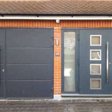 Ryterna Wide Horizontal Ribbed 30:70 Split Side Hinged Garage Doors Finished in Anthracite Grey