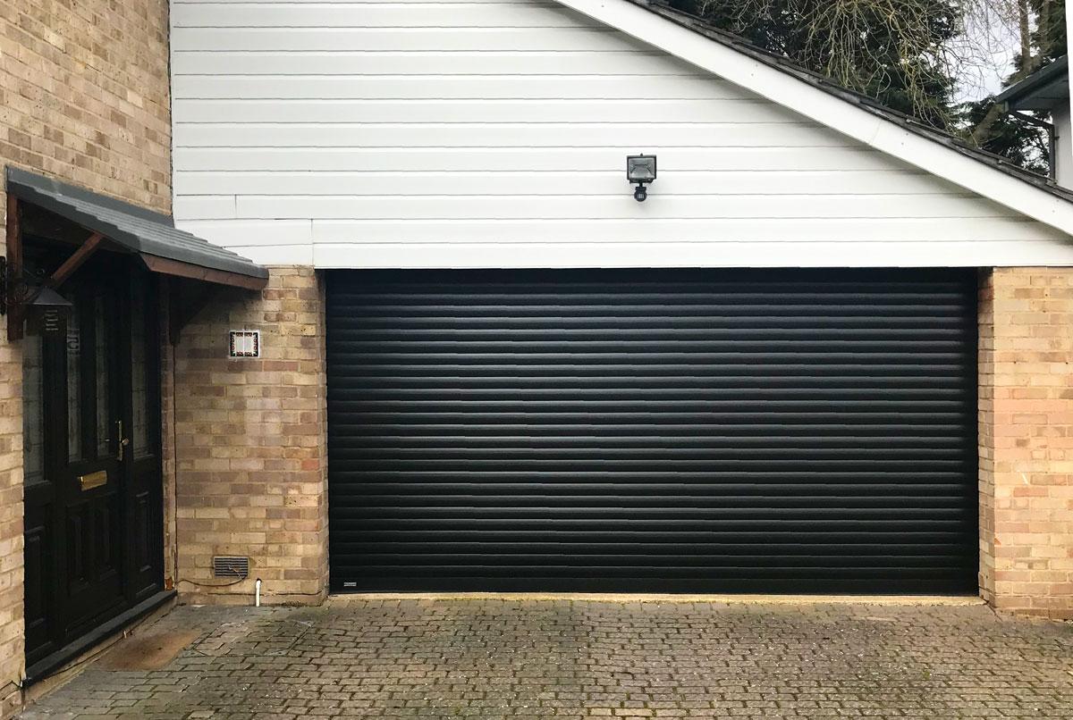An SWS Classic Roller Garage Door in Black