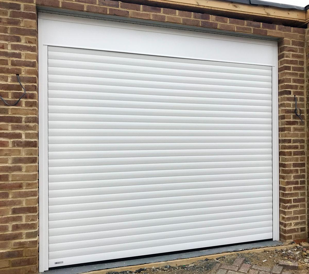 An SWS SeceuroGlide Classic Roller Garage Door in White