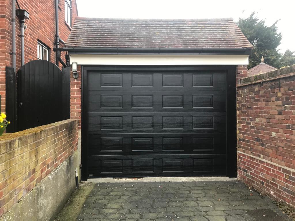 SWS Elite Georgian Sectional Garage Door Finished in Blac