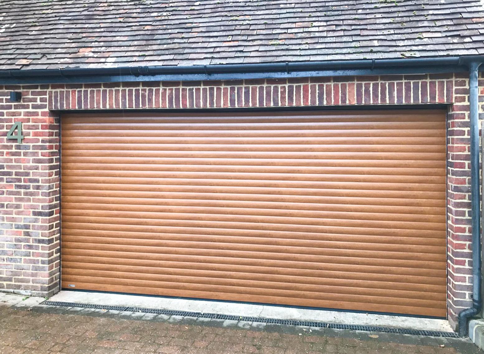 SWS SeceuroGlide Double Roller Garage Door Finished in Golden Oak