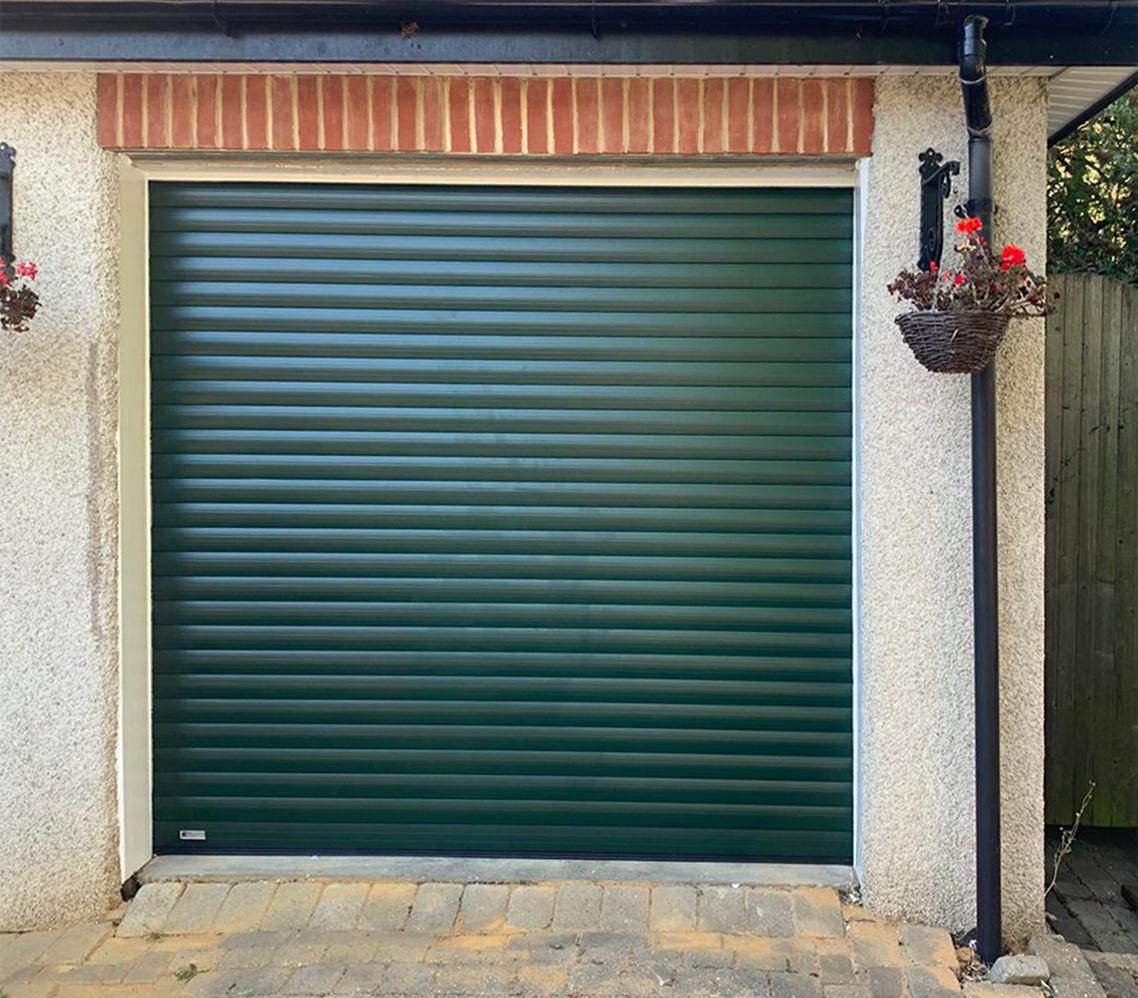 SWS SeceuroGlide Original Insulated Roller Garage Door Finished in Fir Green