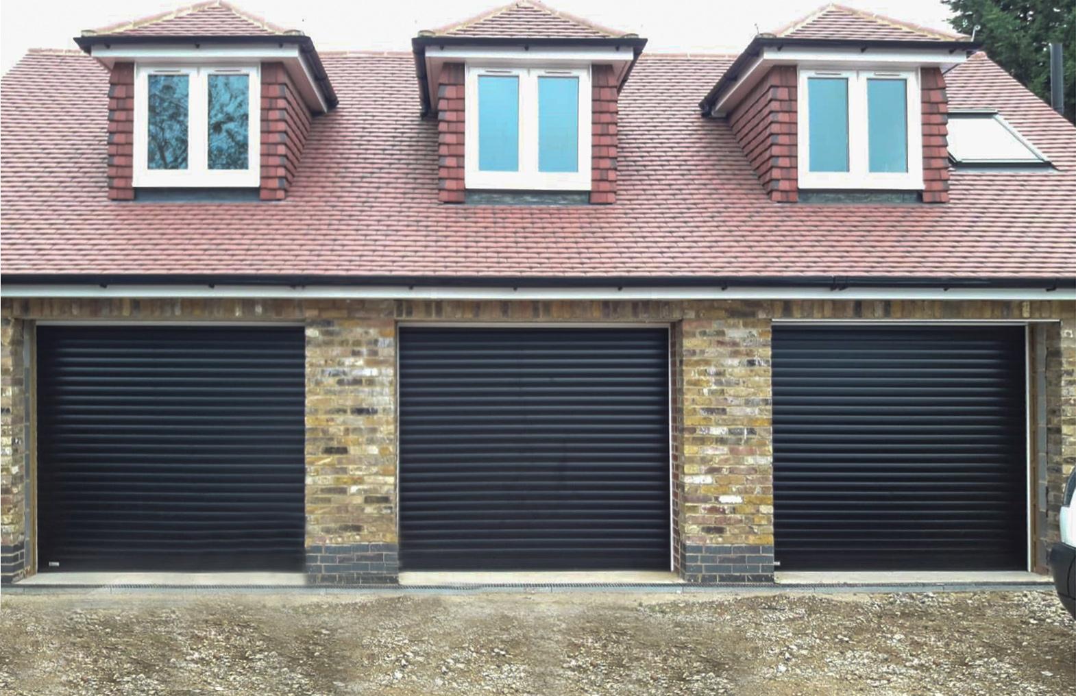 3x SWS SeceuroGlide Original Insulated Roller Garage Doors Finished in Black
