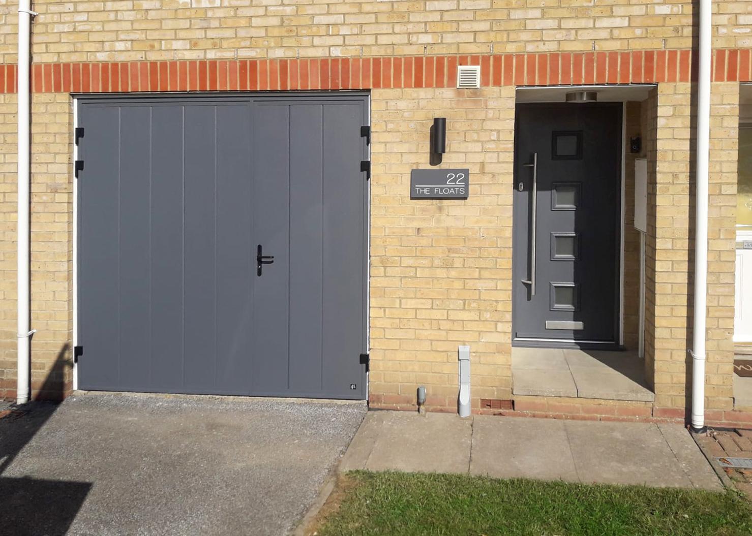 Ryterna Vertical Ribbed 1/3 Split Side Hinged Doors & Truedor TR2H Composite Entrance Door