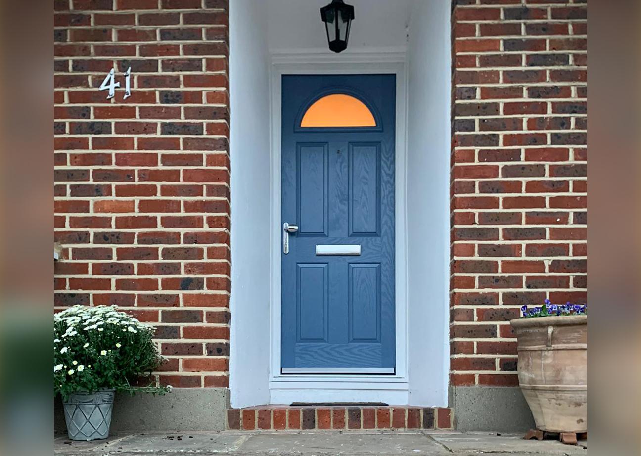 Composite Entrance Door finished in Larkspur Blue