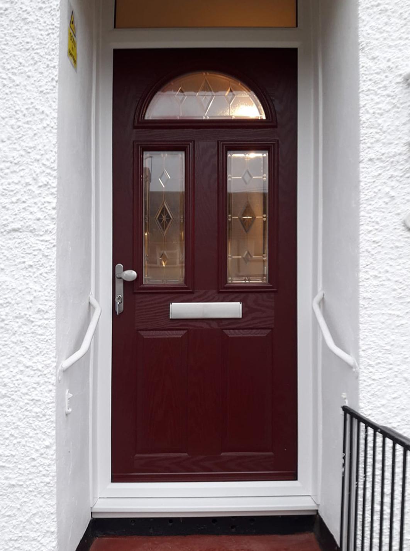 Truedor Monet TR1F Composite Entrance Door Finished in Wine Red