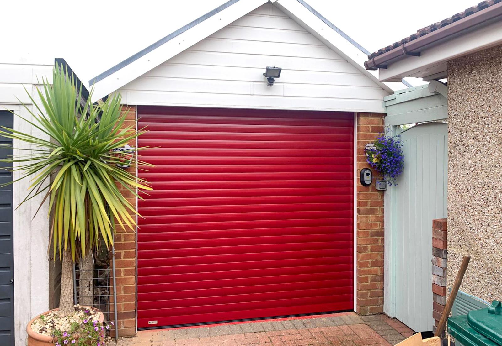 SWS Seceuroglide Roller Garage Door in Ruby Red