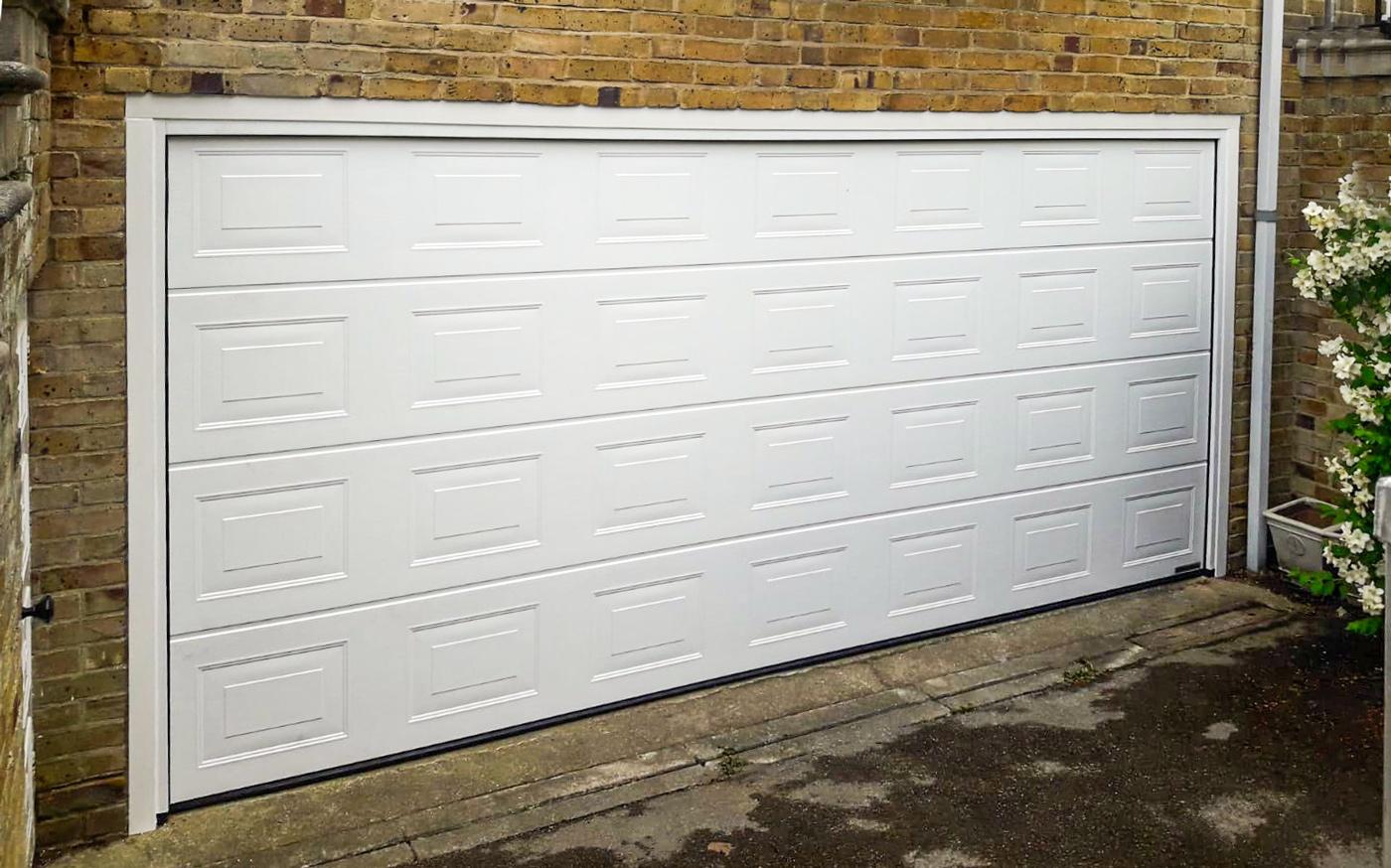 Hormann LPU42 Georgian Sectional Garage Door in White Woodgrain