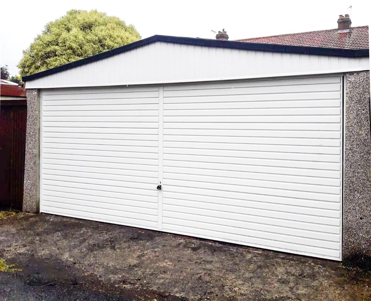 Garador Horizon Steel Double Retractable Up&Over Garage Door in white