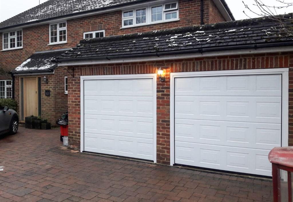 A set of Hormann LPU42 Panelled Insulated Double Sectional Garage Doors