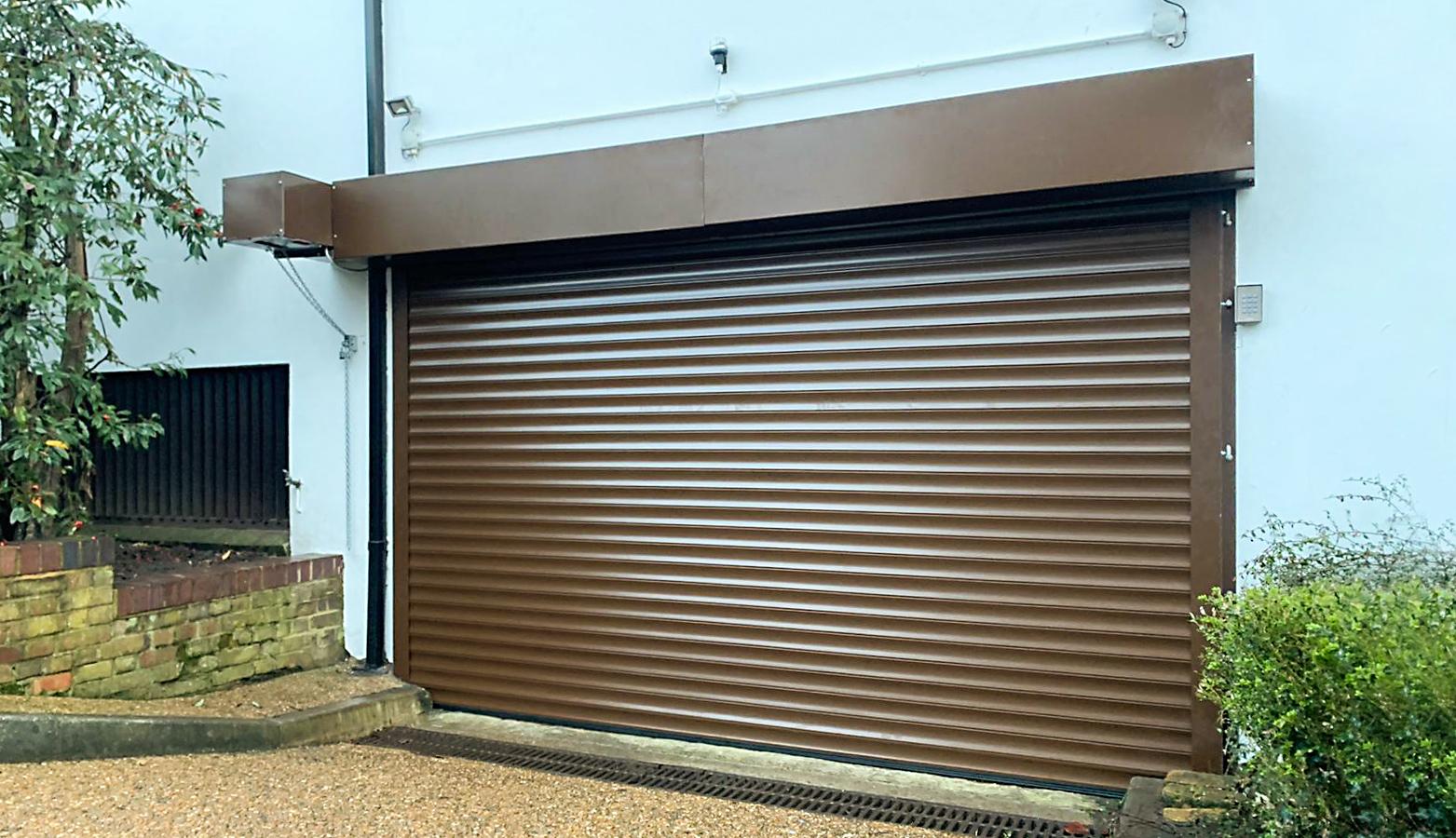 SWS SeceuroDoor 77 Insulated Industrial Roller Garage Door Finished in Brown