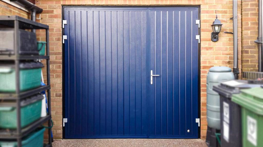 Ryterna Vertical Ribbed 1/3 Split Side Hinged Doors Finished in Blue