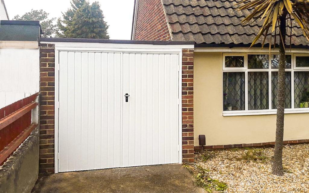 Fort Doors Vertical Small Rib Steel Side Hinged Garage Door in White