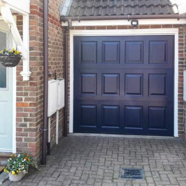 Garador Georgian Up and Over Garage Door in Steel Blue