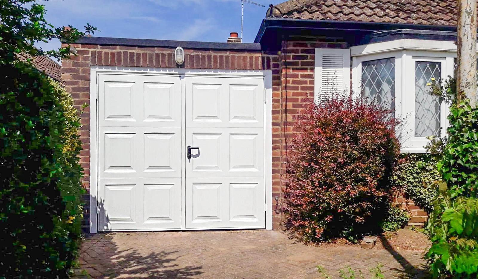 Garador Georgian Steel Side Hinged Garage Doors in White