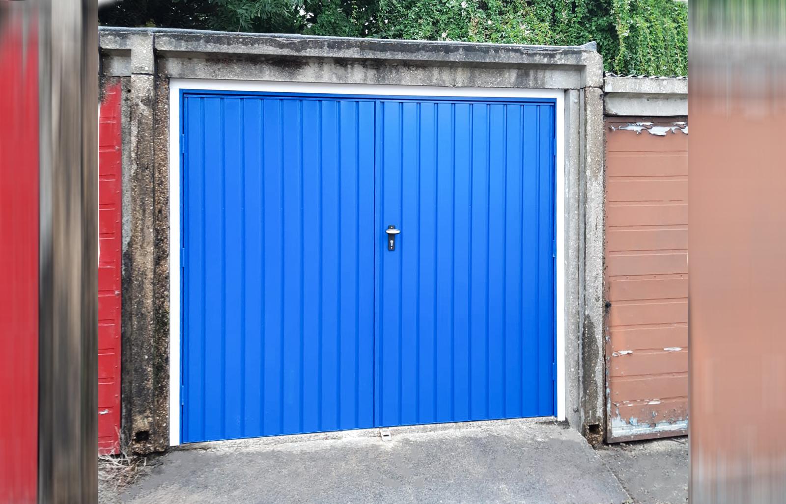 Fort Vertical Steel Side Hinged Garage Door in Signal Blue