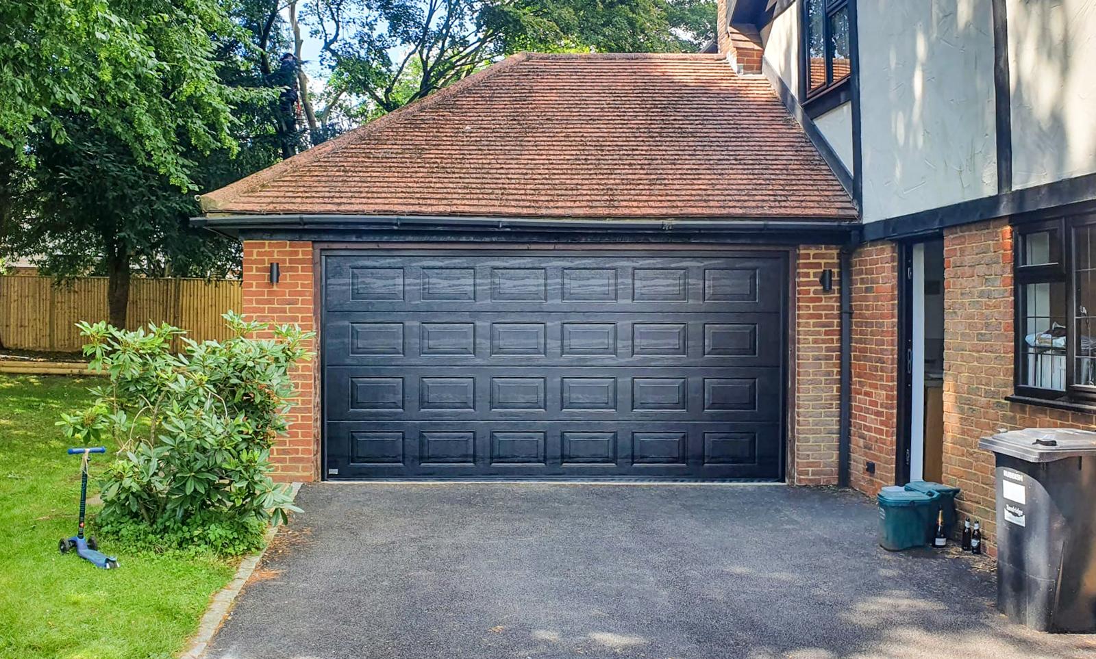 SWS SeceuroGlide Double Sectional Garage Door in Black