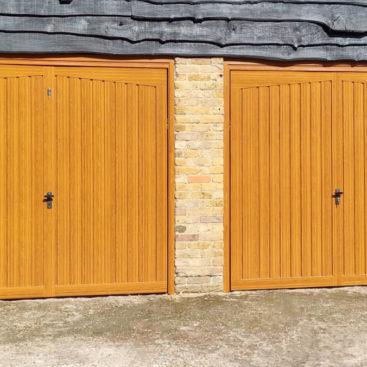 Fort Alton Retractable Garage Doors Finished in Golden Oak