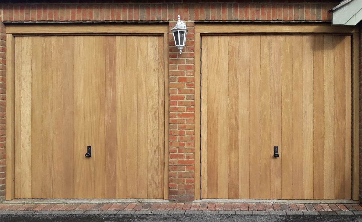 2 x Woodrite Wawrick Thames, wide-vertical boarded, Idigbo canopy garage doors